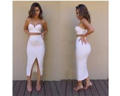 dress,white skirt,white,white crop tops,bandeau,white top,crop tops,bodycon skirt,sandals,two piece dress set,two-piece,strapless,slit dress,strapless dress,summer dress,summer outfits,girly dress,cute dress,midi,midi dress,bodycon dress,bodycon,date outfit,birthday dress,party dress,sexy party dresses,sexy dress,clubwear,club dress,pool party