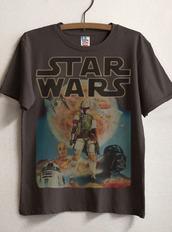 t-shirt,nerd,geek,star wars,grey t-shirt,shirt,grey,grey shirt