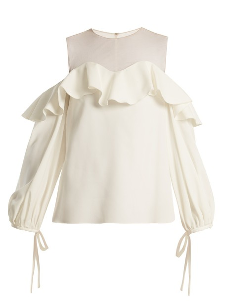 oscar de la renta top cut-out mesh silk