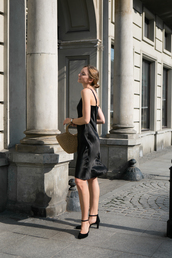 dress,black dress,midi dress,sandals,bag,silk dress