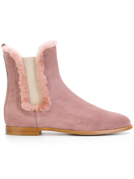 fur boots fur women leather suede purple pink shoes