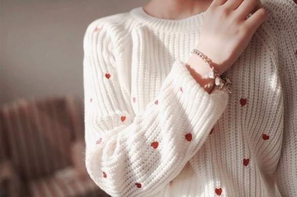 heart sweet white sweater winter sweater