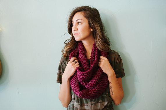 Chunky infinity scarf purple scarf purple infinity by Shanionie