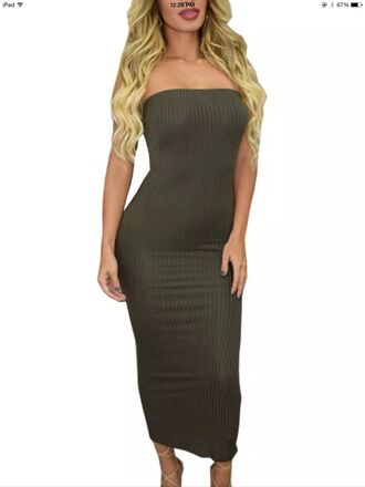 dress army green bodycon strapless tube green olive green bodycon dress