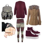 bag,winter outfits,college,coat,fur,aztec,pattern,leggings,wine,sweater,pants