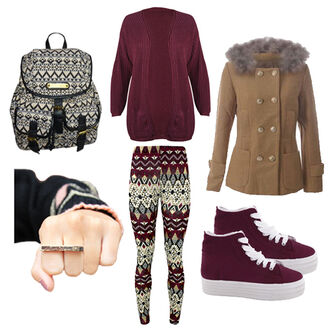 bag winter outfits college coat fur aztec pattern leggings wine sweater pants