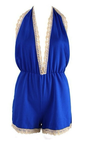 Lala – Cobalt gold lace trim playsuit  |  Steal Her Look |