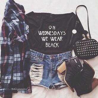 black flannel shirt t-shirt shorts bag denim shorts top tumblr outfit tumblr shirt teenager cute