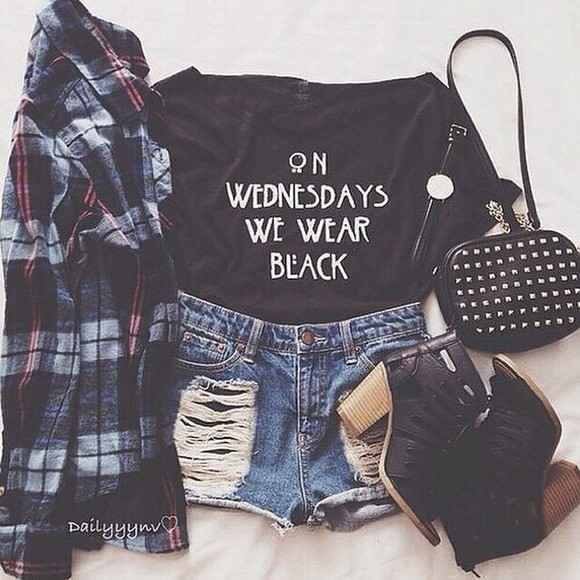 flannel shirt cute black top t-shirt shorts teenager bag denim shorts tumblr outfit tumblr shirt