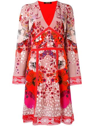 dress print dress women floral print silk red