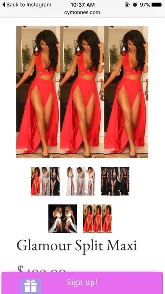 dress red dress cut-out dress maxi dress sexy