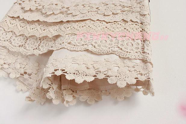Womens Vintage Beige Side Zip Floral Lace Crochet Shorts