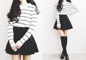 sweater black white striped korea pale kawaii shirt skirt