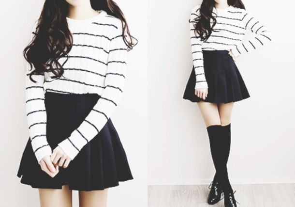 sweater black white stripes korean fashion pale kawaii shirt skirt