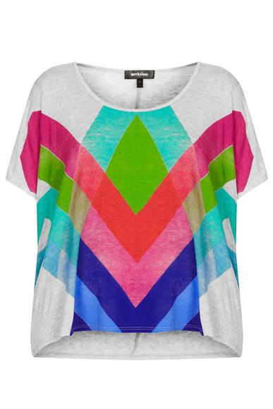 t-shirt printed tee worskhop grey multi topshop