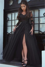 dress,black,black dress,lace dress,underwear,stylish black evening dresses,prom dress,long sleeves,long sleeve dress,flowy,formal dress