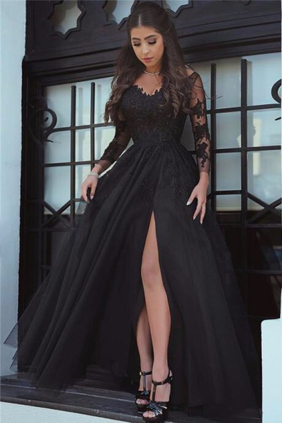 dress black black dress lace dress underwear stylish black evening dresses prom dress long sleeves long sleeve dress flowy formal dress