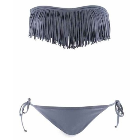 grey swimwear bikini swimwear fringes