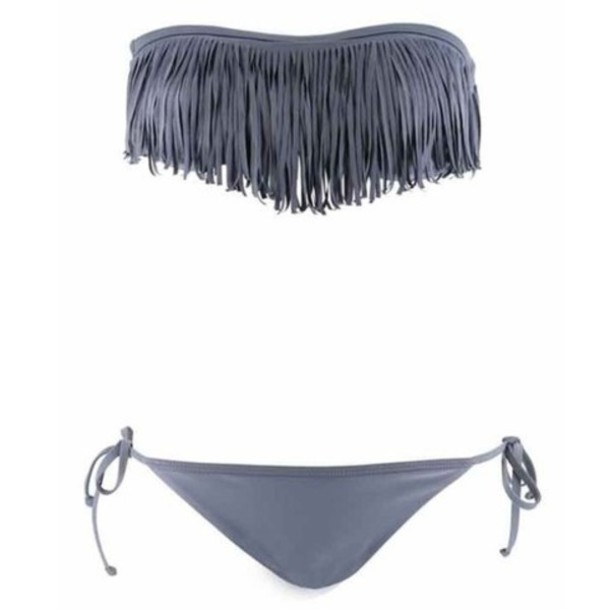 swimwear grey swimwear bikini fringes