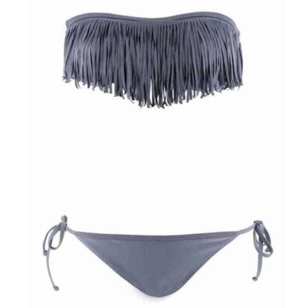 swimwear grey bikini fringes