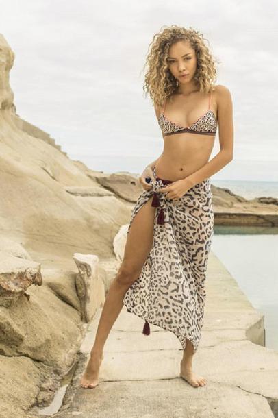 swimwear absolutely stunning palmarosa printed pareo tassel details bikiniluxe