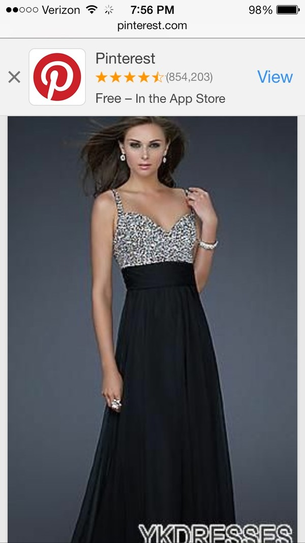 dress prom dress long prom dress black and silver
