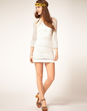 Pepe Jeans | Pepe Jeans Crochet Dress With Long Sleeves at ASOS