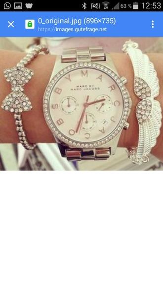 jewels watch marc jacobs watch bracelets stacked bracelets jewelry bow bows bow bracelet bling