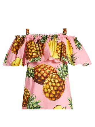 top pineapple cotton print pink