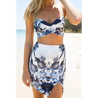 dress two piece dress set summer skirt crop tops cute fashion beach style rose wholesale-feb