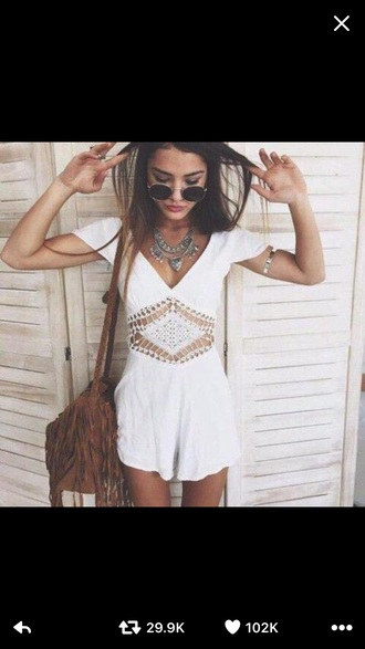 romper suede brown bag fringes fringed bag white lace cute boho bohemian jewels