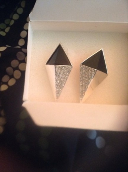 chic muse jewels chic edgy style edge gothic goth hipster spikes triangle hot diamonds two-piece two toned earrings