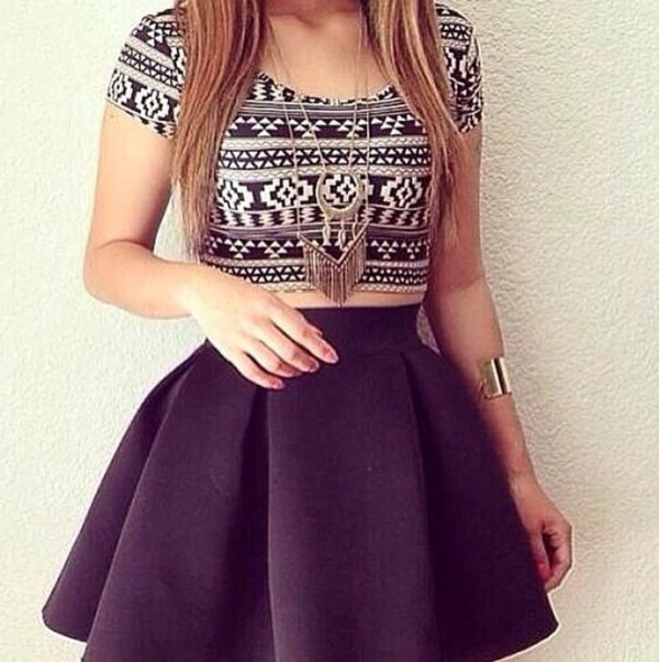 top crop tops aztec pretty hipster tumblr indie skirt
