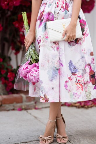lace and locks blogger spring dress flowers floral dress pink dress nude sandals bow heels ysl bag white bag midi dress flare dress flare