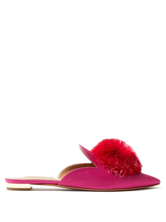 backless flats satin pink shoes