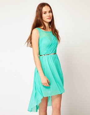 Warehouse mesh high low dress at asos