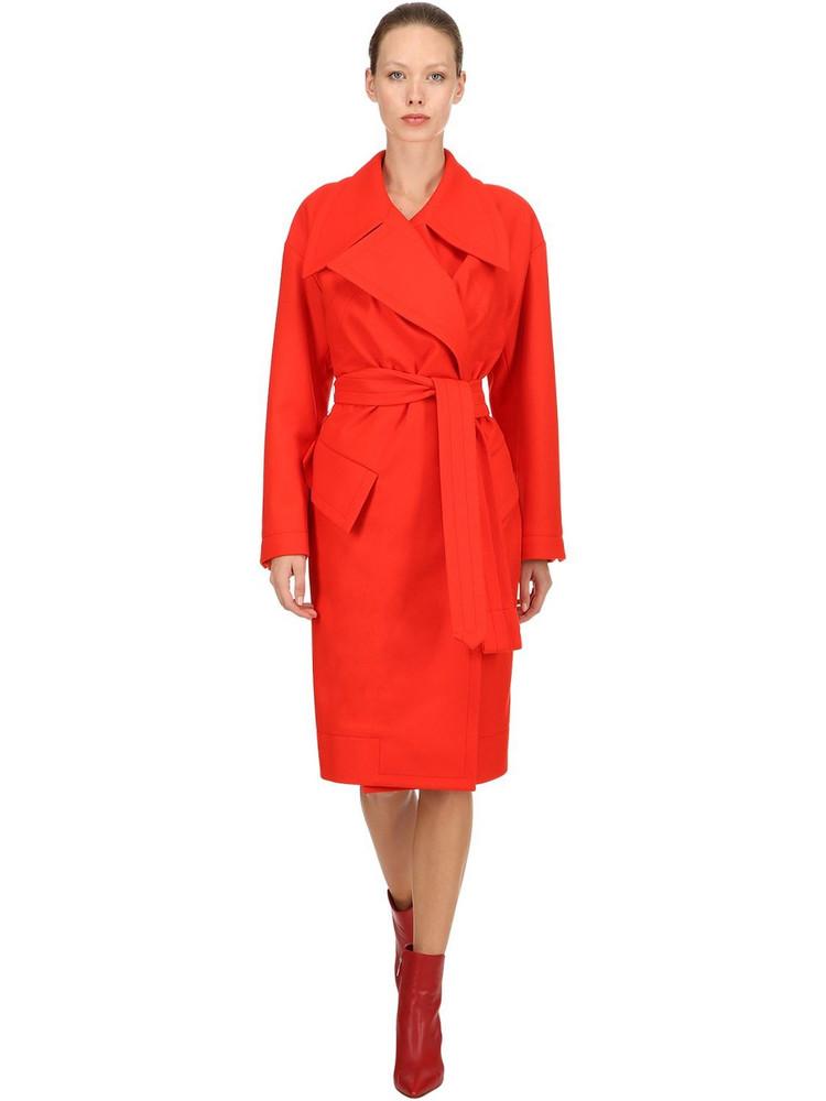 VIVIENNE WESTWOOD Belted Wool Cloth Coat in red