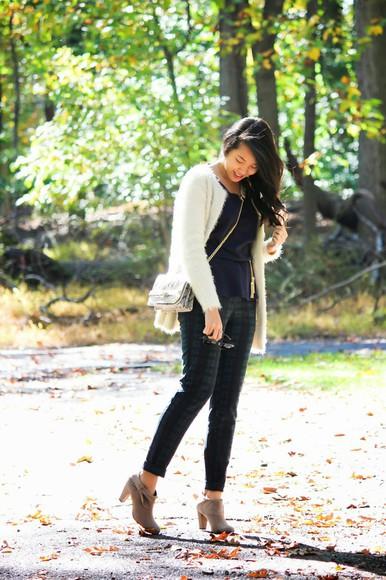 blogger tartan refined couture tassel clutch cardigan