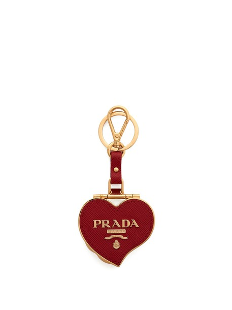 Prada heart ring leather red jewels