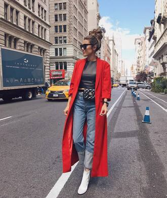 coat tumblr red coat long coat denim jeans blue jeans boots white boots top fall outfits