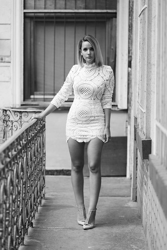 the sense blogger white lace lace dress white dress white lace dress three-quarter sleeves pointed toe cocktail dress mini dress