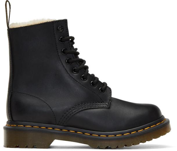 Dr. Martens fur boots black shoes