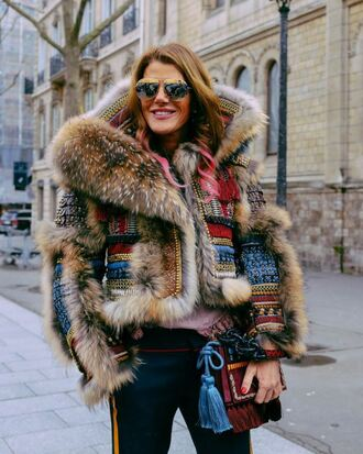 jacket fur dsquared2 anna dello russo fashion week 2016 streetstyle paris fashion week 2016 printed fur jacket