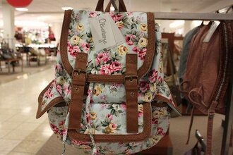 bag flowers floral cute beautiful pretty back to school school bag perfect summer floral bag floral backpack backpack flower backpack floarl bag