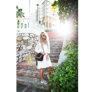 angelica blick blogger jewels white dress long sleeves black bag mini dress shoulder bag aviator sunglasses sunglasses summer dress