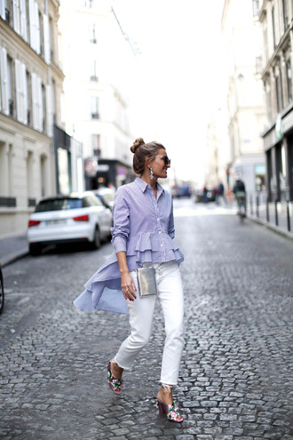 b a r t a b a c blogger shirt jeans shoes bag fall outfits blue shirt mules white pants