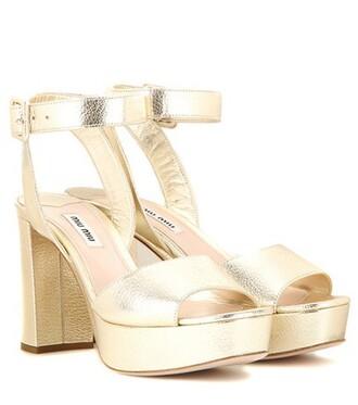 metallic sandals platform sandals leather gold shoes