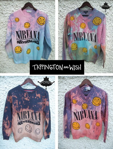 nirvana grunge tie dye nevermind tappingtonandwish sweater jumper ombre tip dye smiley face 90s