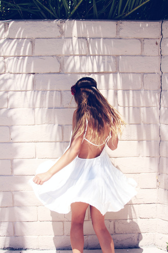 dress flowy dress white dress backless dress spaghetti strap spaghetti straps white backless dress