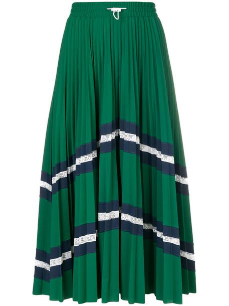 Valentino skirt midi skirt pleated women midi spandex green